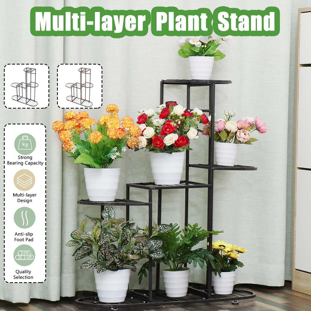 Multi Tier Metal Flower Plant Holder Stand Rack Yard Garden Patio Balcony Flower Stands Shelves Balcony Flower Rack Plant Pot