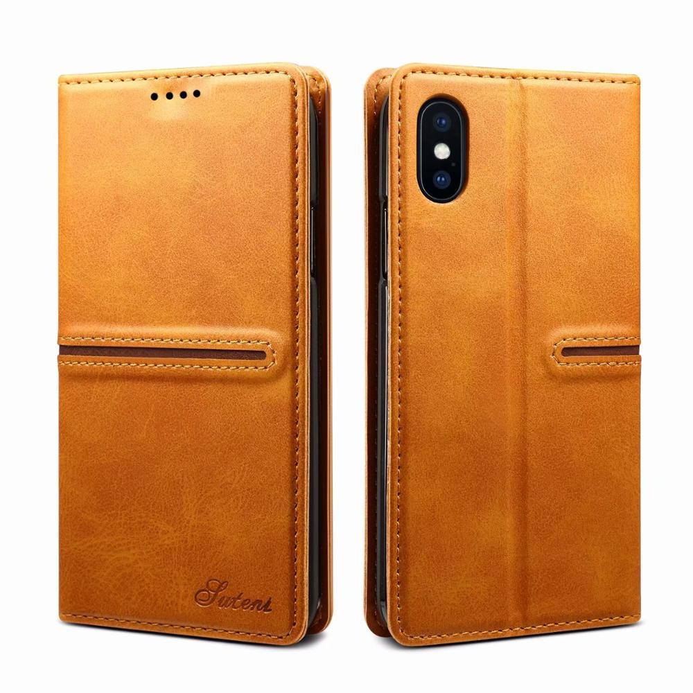 حافظة جلدية بغطاء وحامل بطاقات مغناطيسي لجهاز iPhone ، للموديلات 12 ، XS ، 8 ، 7 Plus