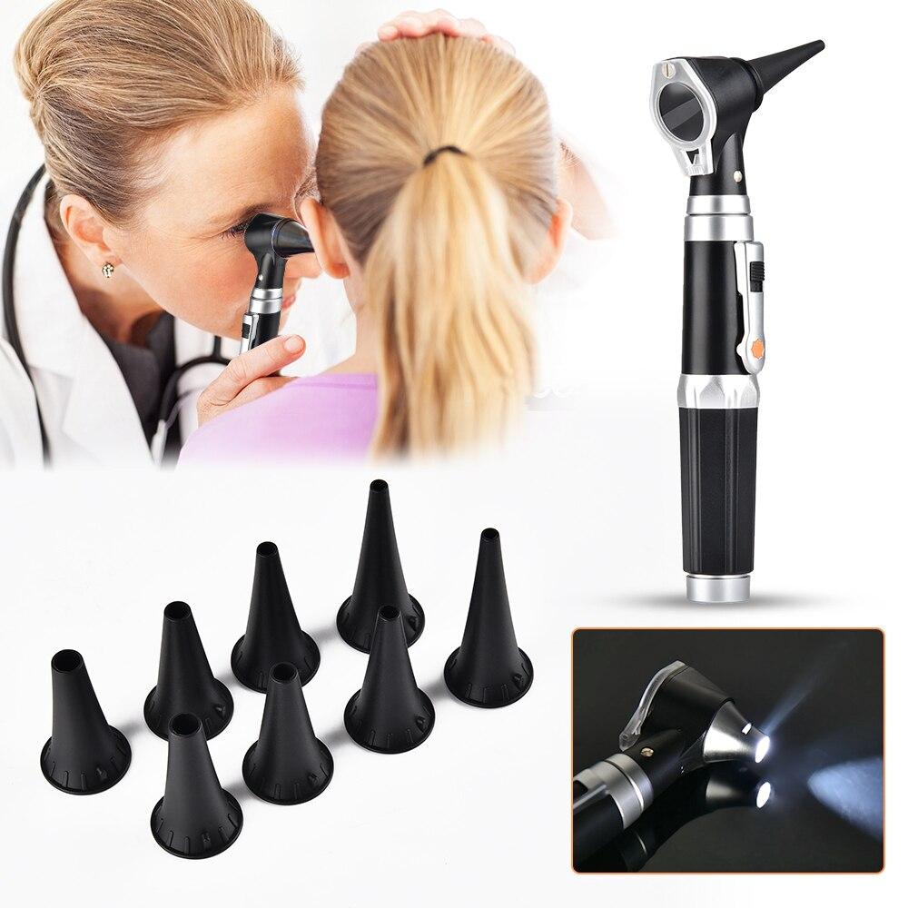 Profissional diagnóstico led de fibra óptica otoscópio médica ampla orelha campo diagnóstico instrumentos ópticos lupa handheld