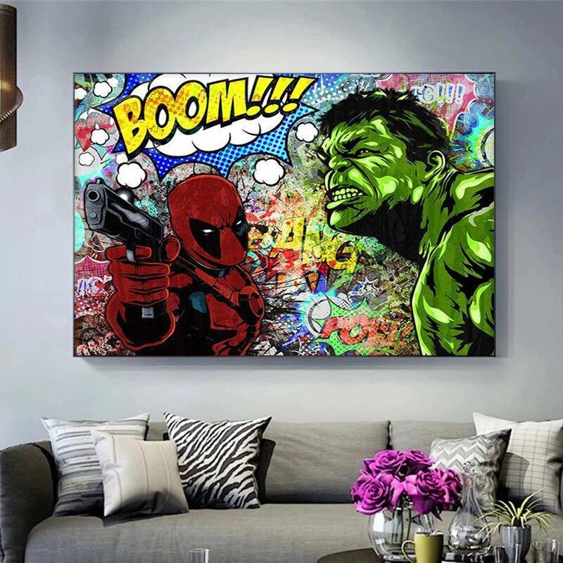 arte-de-marvel-para-decoracion-del-hogar-pintura-en-lienzo-de-personajes-de-superheroes-deadpool-y-hulk-carteles-e-impresiones-imagen-artistica-de-pared