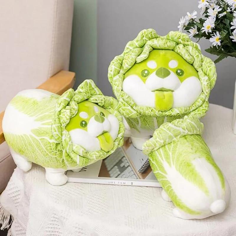 Симпатичная плюшевая игрушка в виде овощей, японская капуста, собака, пушистые мягкие игрушки, собака, мягкая кукла, подушка Шиба-ину, детски...