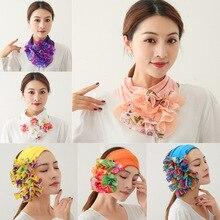 Foulard en dentelle agaric de couleur unie pour femmes à la mode et polyvalent décoration tour de cou couverture faux tour de cou écharpe bandeau
