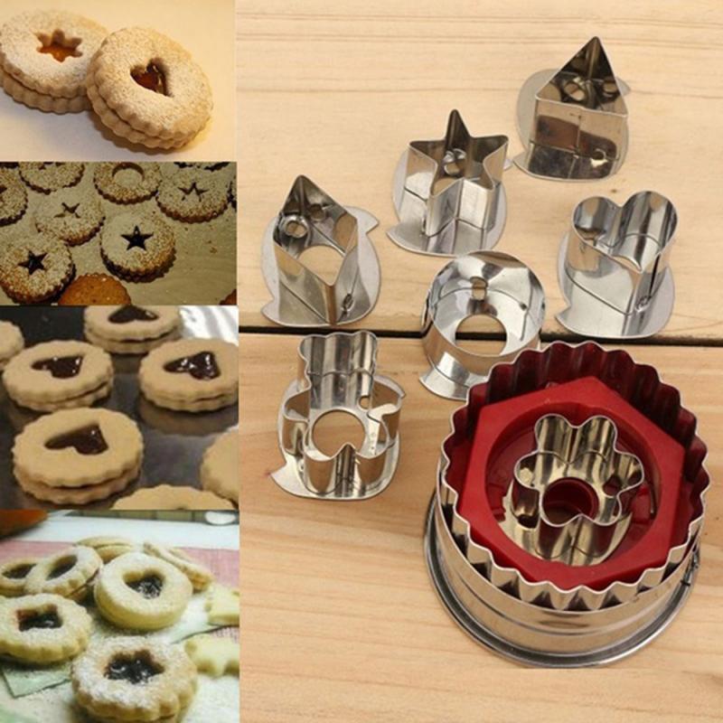 7 unids/lote cortador de galletas molde de herramientas de cocina hogar de acero inoxidable cortador de galletas Set de pan de jengibre molde para pasteles y galletas cortador de Fondant
