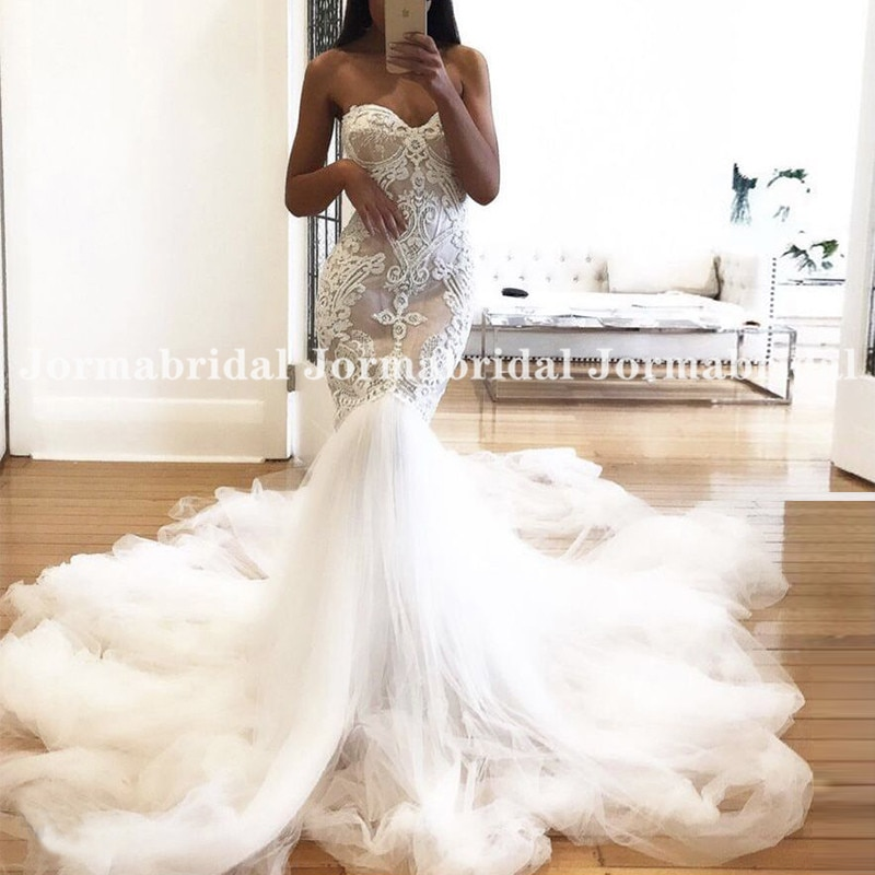 Review Champagne Boho Wedding Dresses Sweetheart Vintage Lace Mermaid Wedding Gowns White Tulle Long Train Bridal Dress robe mariage