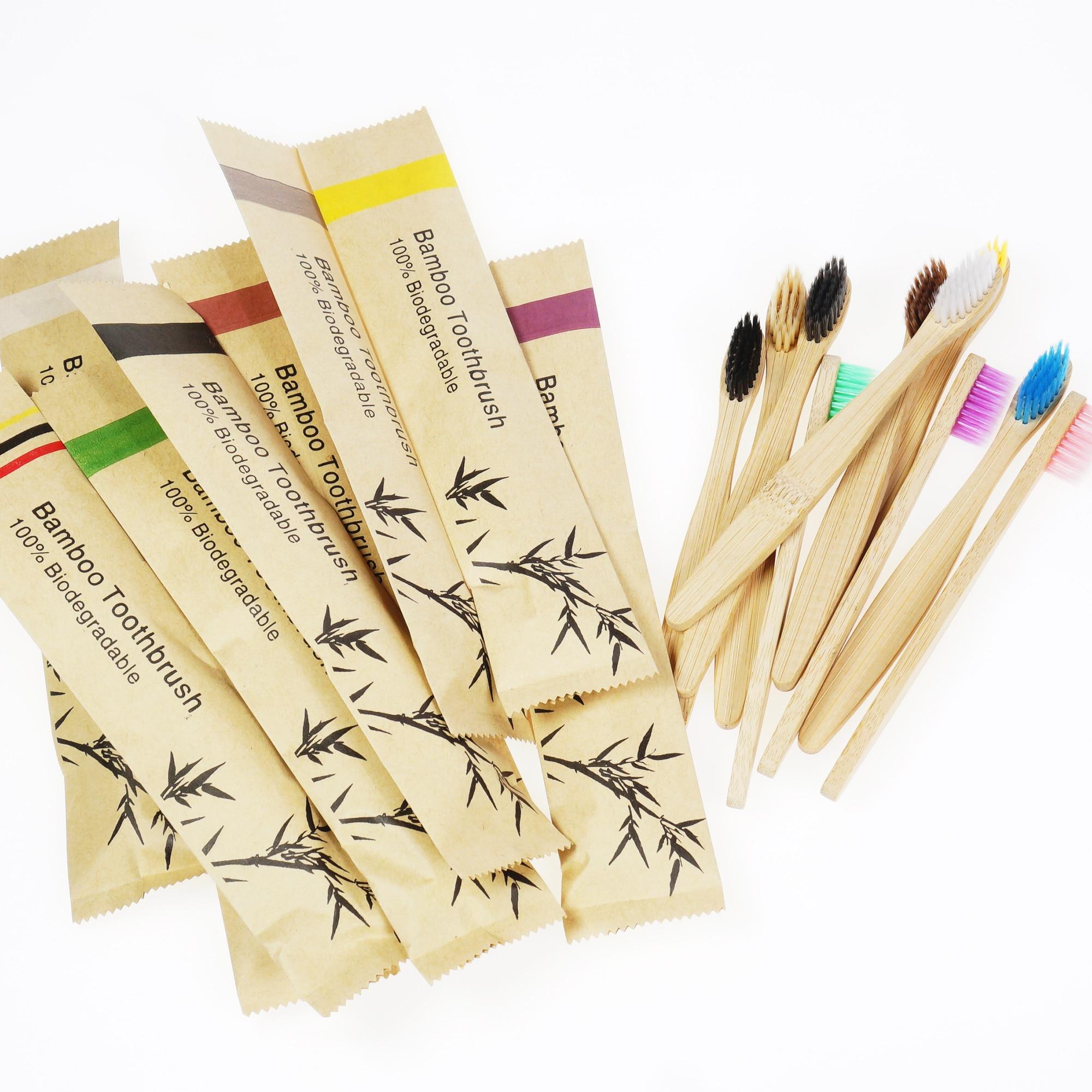 Детские экологически чистые бамбуковые зубные щетки 5/10 шт., портативные детские деревянные мягкие зубные щетки для дома, путешествий, отеля