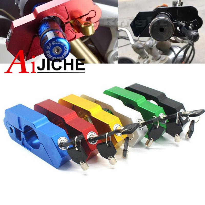 Для SUZUKI GSR600 GSR400 GSR750 GSX1300R DL650 DL1000 ЧПУ руль замок ATV сцепные безопасности Безопасность противоугонные устройства блокировки