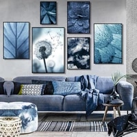 gray blue plant close up photography wall painting dandelion succulents still life canvas frameless printing decorative poster
