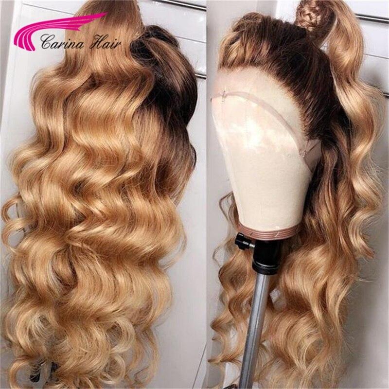 Carina #4/27 peluca con malla frontal de encaje humano brasileño Remy 13*3 peluca con malla frontal con raíces negras oscuras onda suelta con pelo de bebé