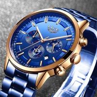 Mens Watches LIGE Top Brand Luxury Business Date Watch For Men Waterproof Sports Wrist Watch Blue Quartz Clock Relogio Masculino