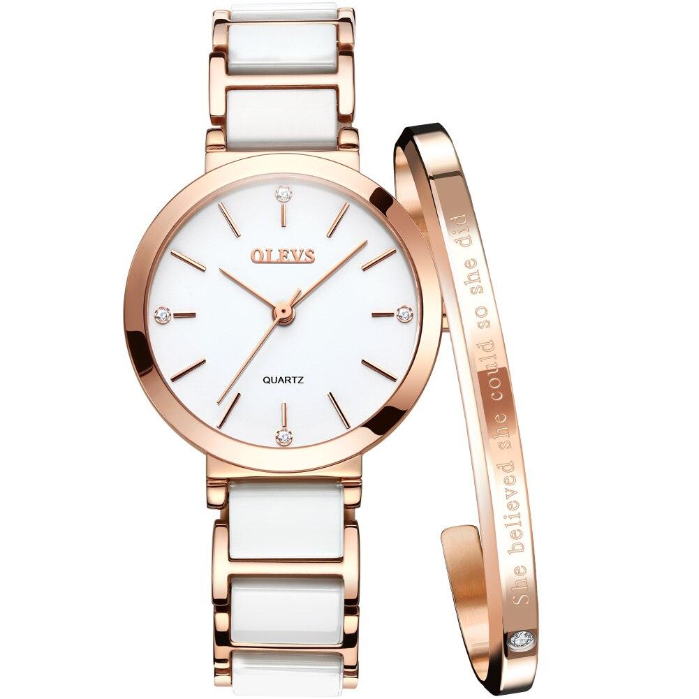 OLEVS جديد سيراميك أنيق حزام كوارتز ساعة نسائية مقاوم للماء العلامة التجارية الفاخرة ساعة نسائية تاريخ ساعة هدية 5877