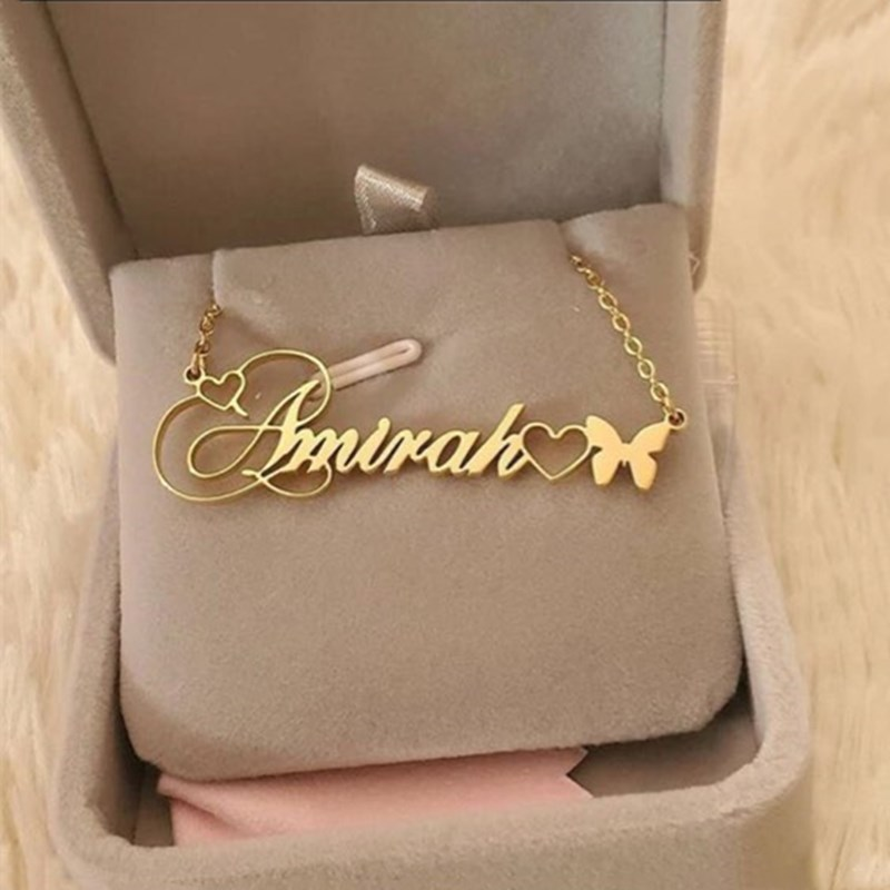 Butterfly Necklaces Pendants Stainless Steel Custom Name Necklace Women Grils Fashion Jewelry Personalized Heart Collares