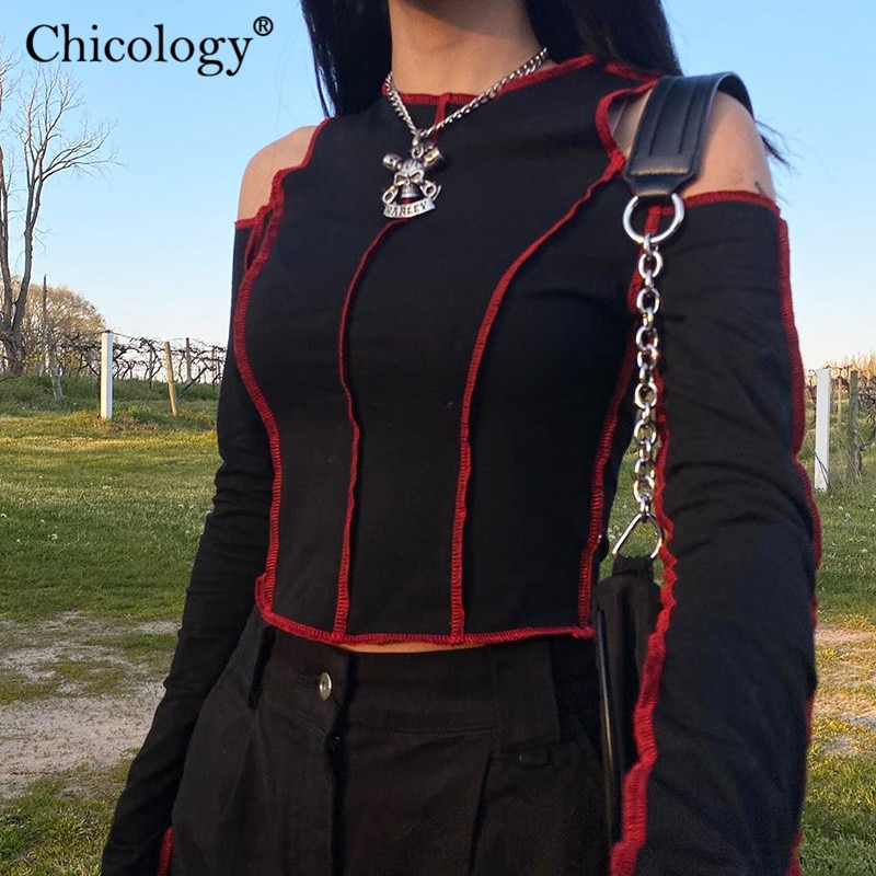Chicology Goth Hollow Out Fashion Tshirt Women Long Sleeve Crop Top T Shirt 2020 Winter Fall Clothes Punk Streetwear Gothic Tee