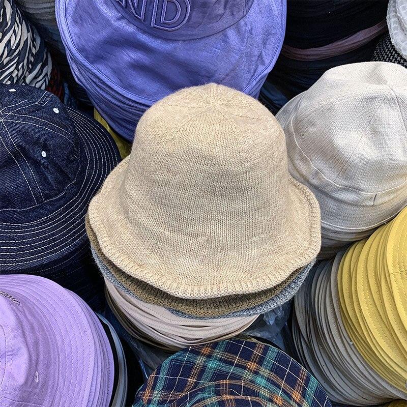 6 цветов, однотонные вязаные шерстяные Панамы, женские шапки с отверстием в виде купола, женские шапки, уличная Складная Солнцезащитная шапк...