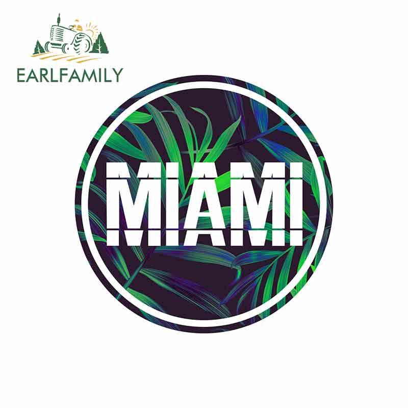 EARLFAMILY 13cm x 13cm for Miami Beach USA Tropical Surf Car Sticker Vinyl Bumper RV VAN Car Accessories JDM Graphics Comic Sign
