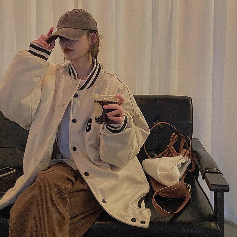 Autumn Korean 2021 Jacket New Loose Casual Long Sleeve Letter Embroidered Baseball Cardigan Jacket W