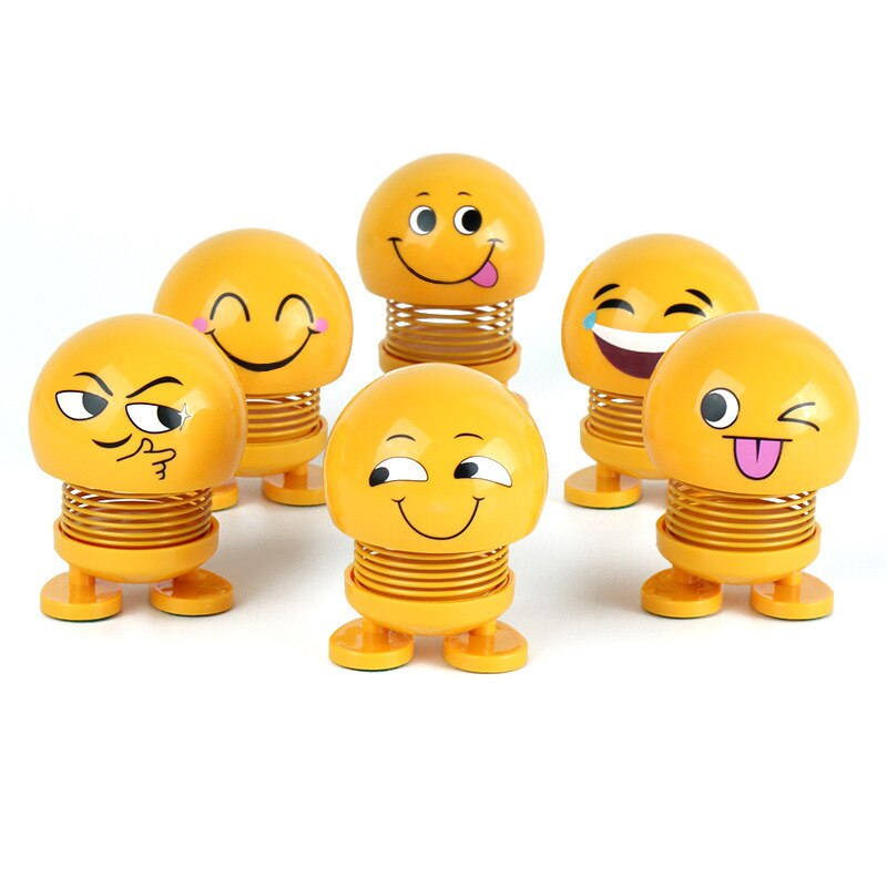Emojied Moving Head Toy Package Spring Smiley Face Shaking Head Doll Car Family Decoration Pendant Kids Toy New Year Gift Cute head shaking cute cat style toy for car decoration white