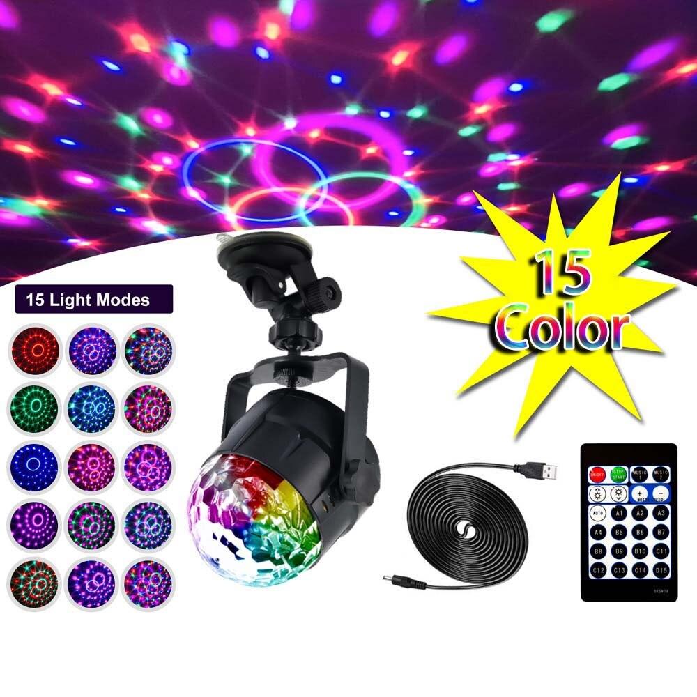 15 لون LED الكرة ضوء المرحلة ديسكو الصوت ماجيك الكرة DJ مصابيح LED للحفلات 3 واط ملون ليزر RGB ضوء لعيد الميلاد الزفاف KTV