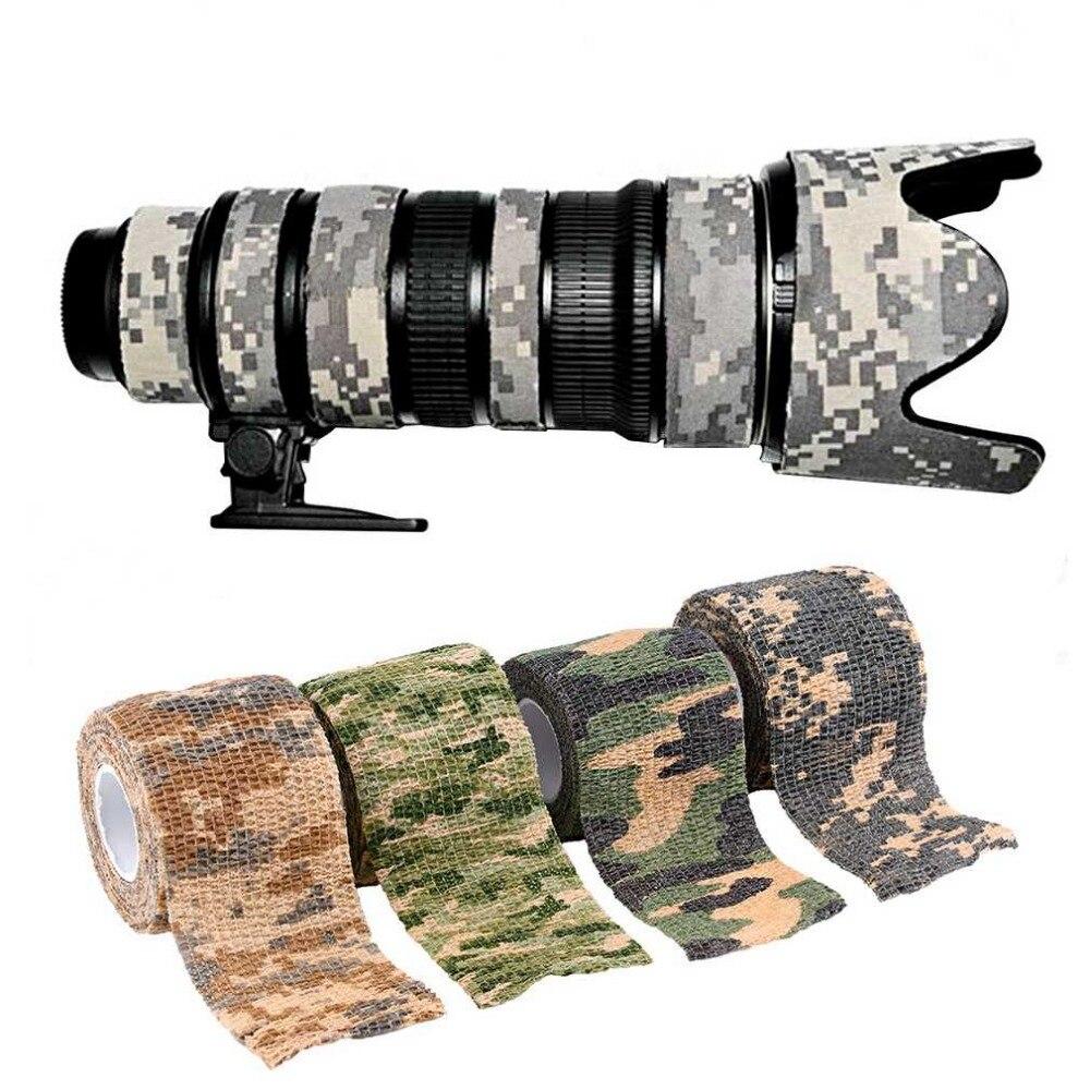 Elástico camuflaje impermeable al aire libre caza Camping Stealth Camo envoltura cinta militar Airsoft Paintball vendaje elástico