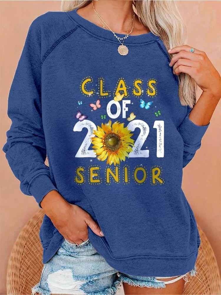 New Women Pullover Sweatshirts 2021 Letter Printing Retro Round Neck Hoodie Spring Autumn Casual Cotton Womens Long Sleeve Tops
