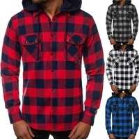 2021 spring new mens plaid hooded shirt tooling pocket removable hat casual long sleeve shirt style collar sleeve lengthcm