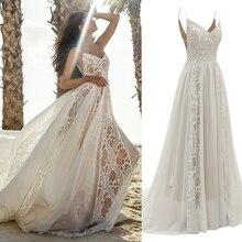 Sexy dentelle plage bohème spaghetti bretelles mariée grande taille robe de mariée vraie PHOTO prix usine