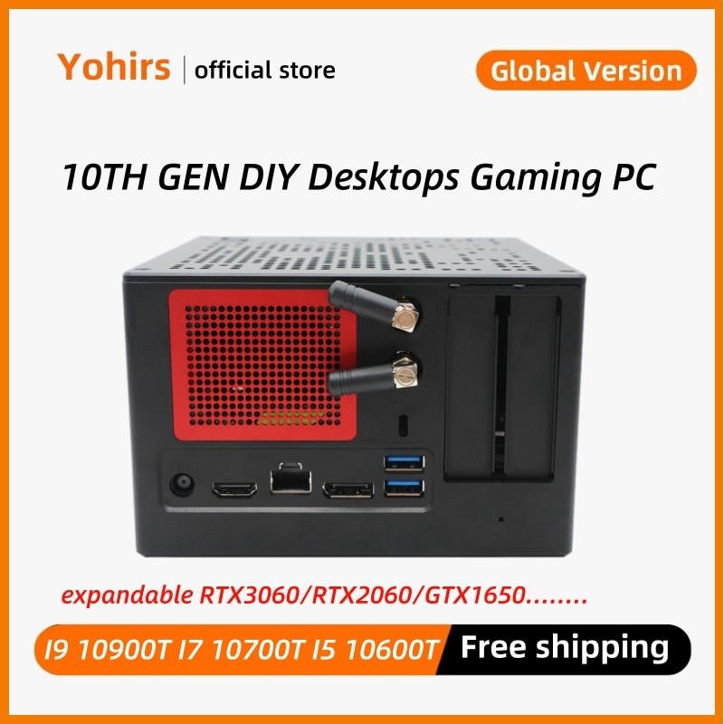 Intel B360 Powerful Mini Pc 10th Core i9 10900T i7 10700T 10600T DDR4 Max 64GB 2*NVME Mini Desktop Host Fan Itx Game Computer