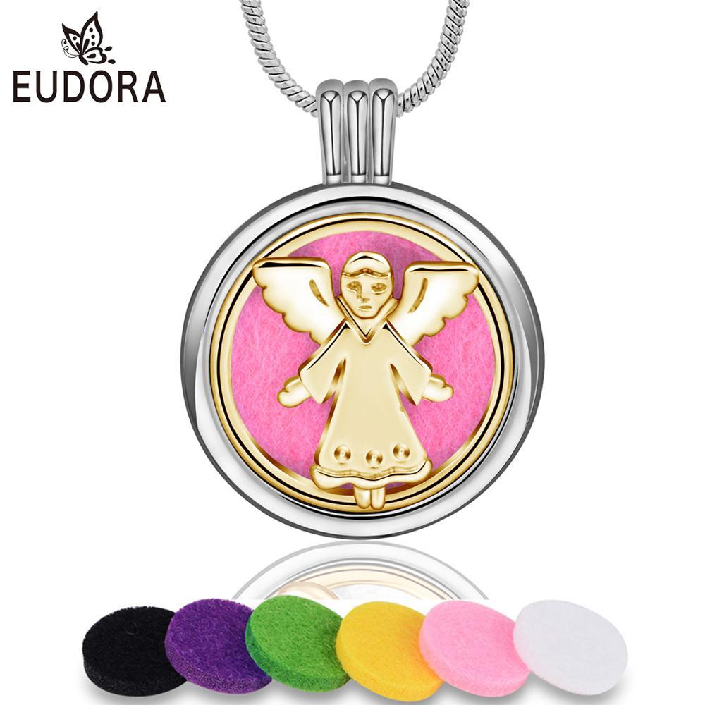 Eudora colar difusor de aroma com asa de anjo, medalhão aberto, pingente perfume de óleo essencial, aromaterapia, colar com almofada, 1 peça