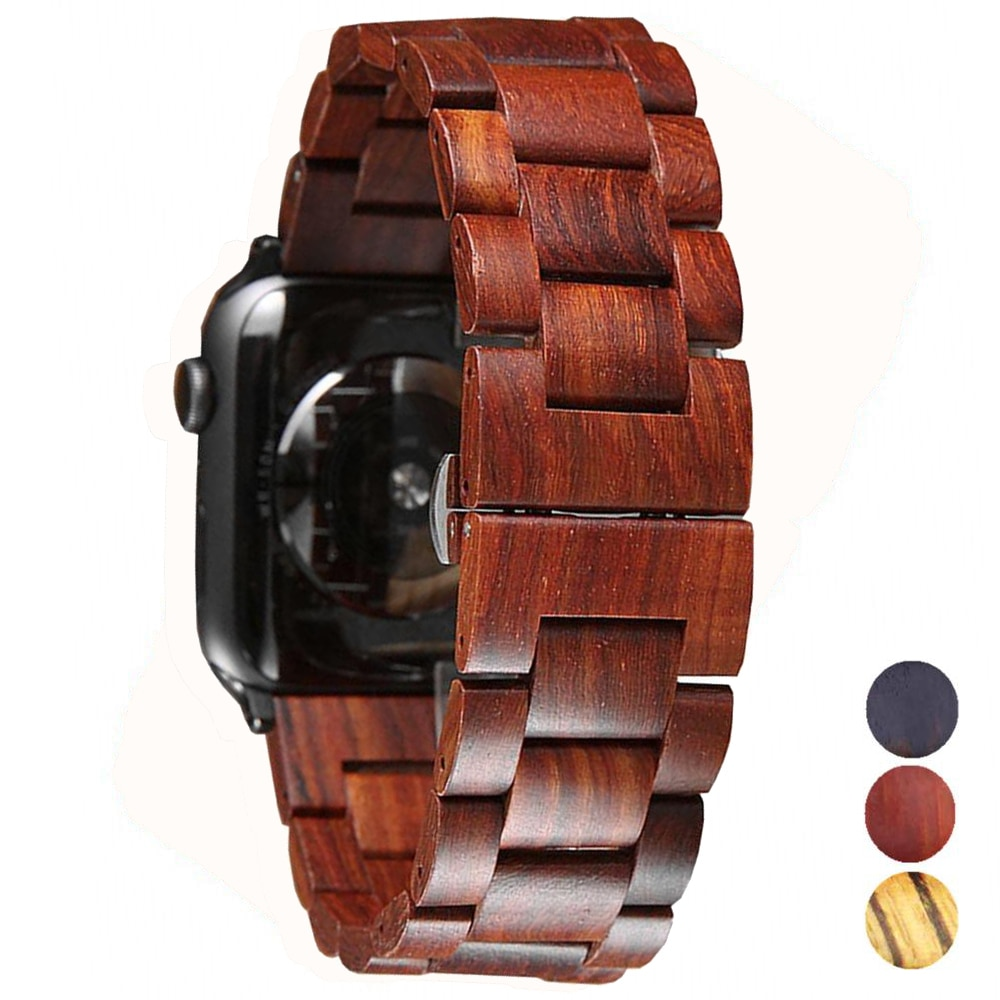 Wooden strap For Apple watch 5 4 band 44 mm 40mm iWatch band 42mm 38mm Metal Butterfly clasp bracele
