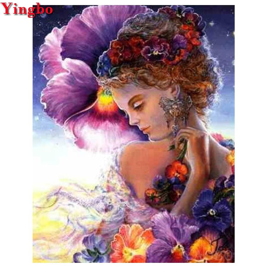 Bordado de diamantes 5d, belleza, mujer y flores, pintura de diamantes, Cuadrado completo, punto de cruz, 3D, mosaico de diamantes, costura, artesanía