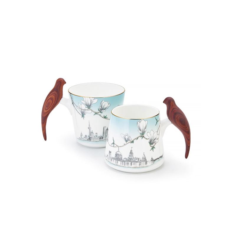 CHT فنجان شاي مقبض خشبي أكواب بورسلين المنزلية زوجين كوب هدية صندوق التعبئة والتغليف