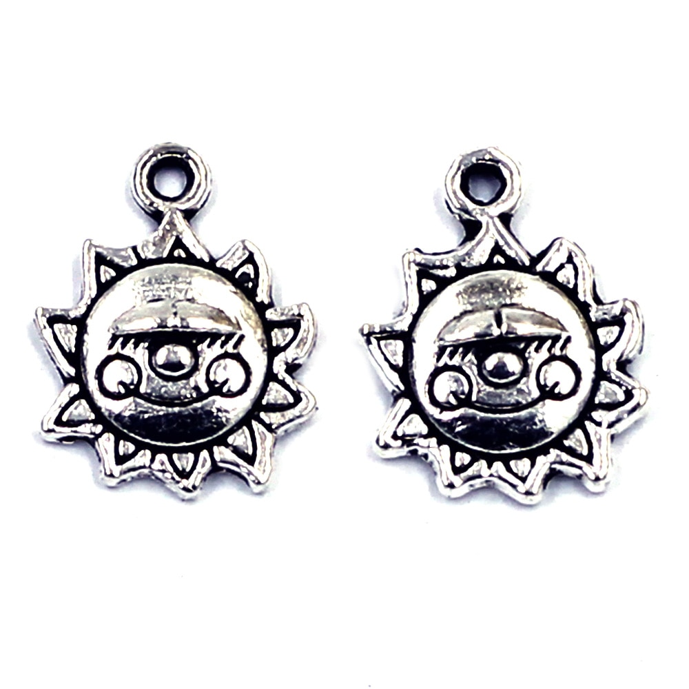 20Pcs Pendants Sun Flower  Made with a Smile Silver Tone Metal Jewelry DIY Findings Charms 16x12mm