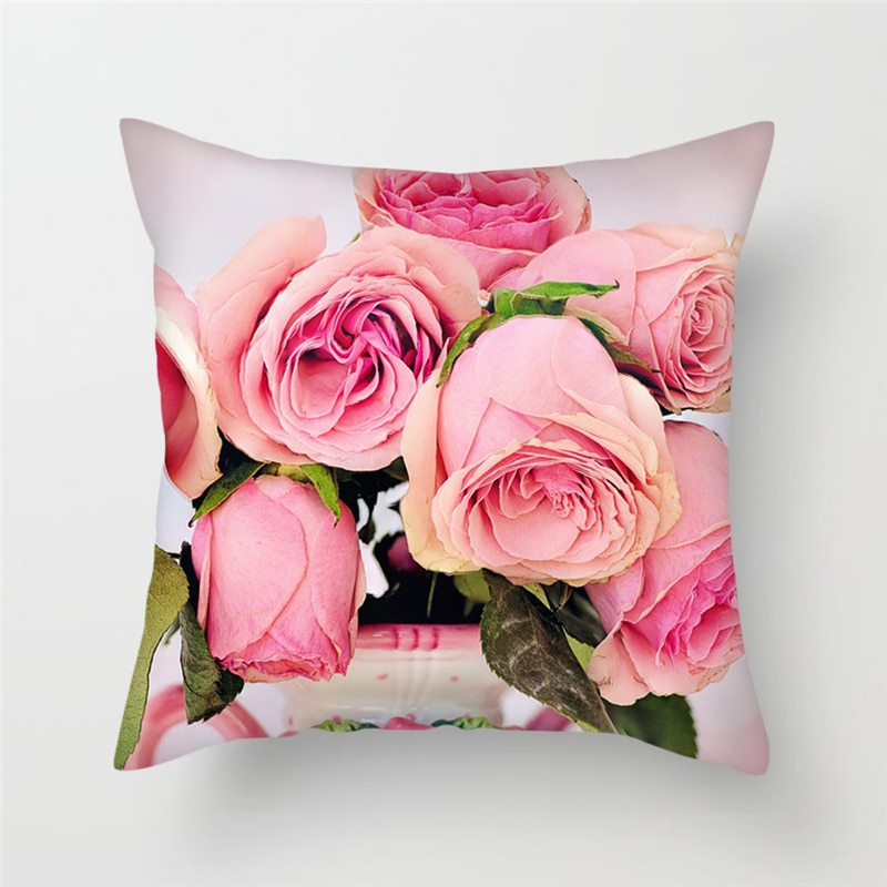 Fuwatacchi, decoración del hogar, Fundas de cojín de girasol, funda de almohada de diente de león rosa para coche, sala de estar, hogar, sofá, fundas de almohada de flores