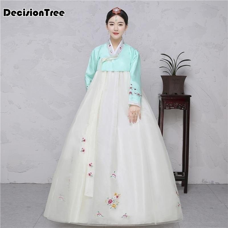 2020 de seda de algodón de manga completa kimono japonés de tipo yukata tradicional coreano vestido disfraz de hanbok vestido hanbok