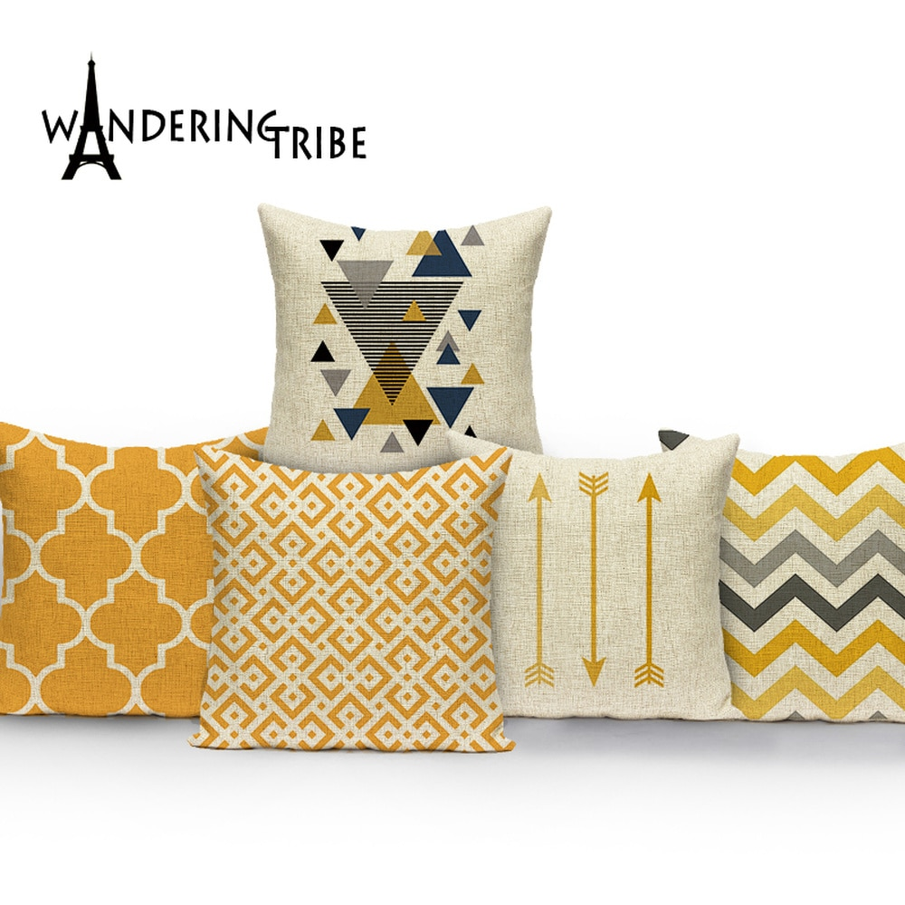 Nordic Simple Cushions Case Yellow Stripe Home Decorative Pillow Cases Line Cushion Covers Pillows C