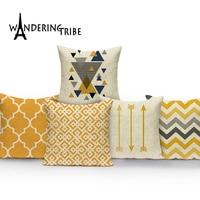 Скандинавский простой чехол для дивана Декоративные Чехлы на подушку с желтыми полосками