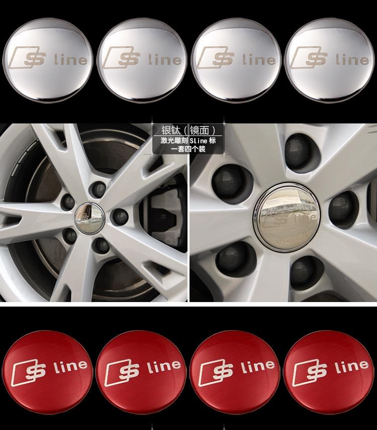 4pcs 56.5mm For Audi a3 a4 a5 a6 s4 s5 s6 s7 c5 c6 b7 b8 b6 q3 q5 q7 8p car hubcaps sticker car tire wheel center cover sticker