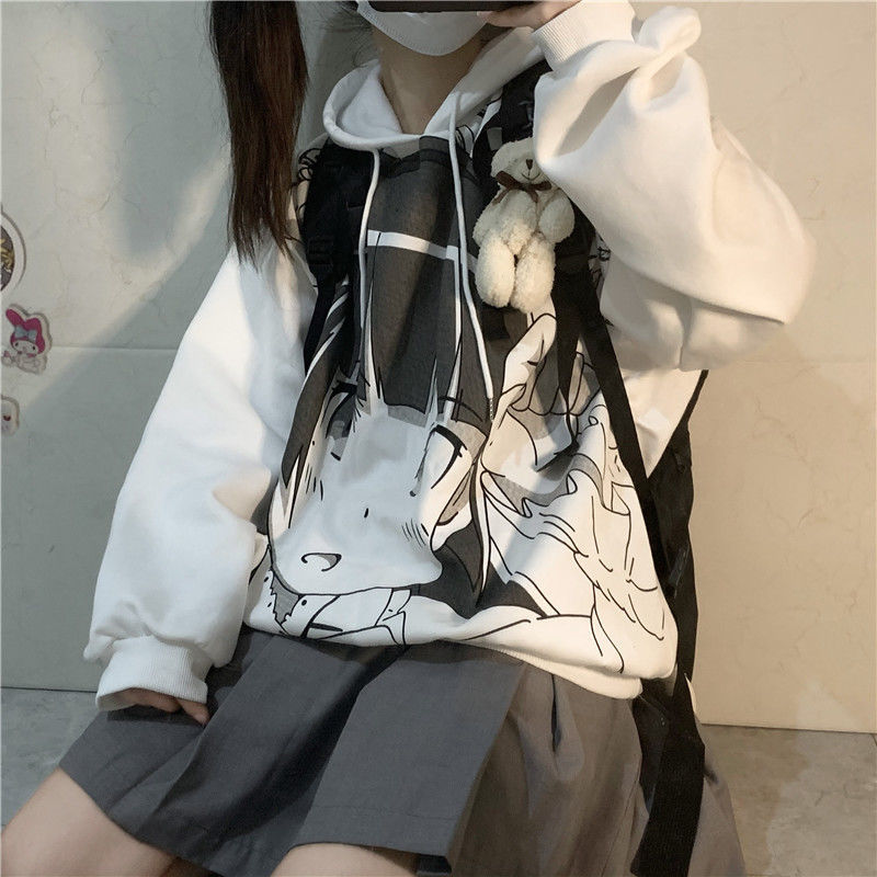 Oversized Hoodie Kawaii Cartoon Anime Korean Style Plus Size Clothing Long Sleeve Loose Harajuku Streetwear Women