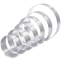 6 pack perforated tart rings setstainless steel heat resistant cake mousse ring pie mousse mold for pastry cake