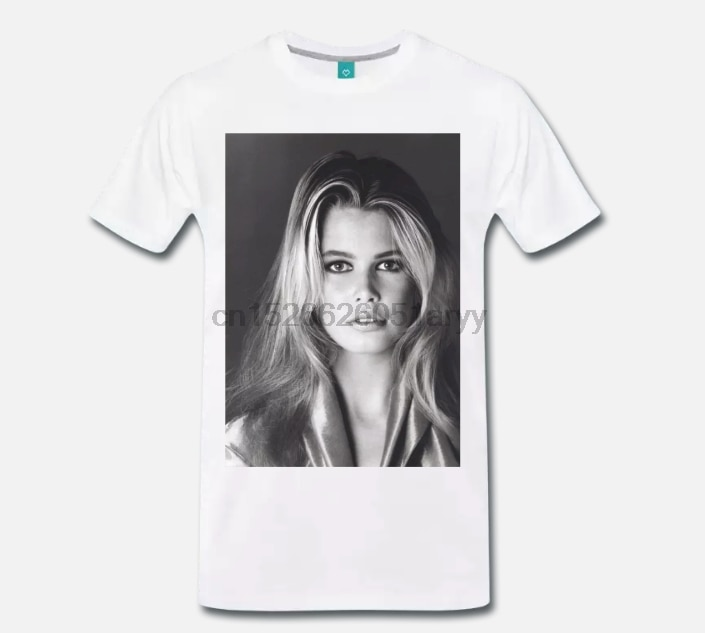 Camiseta MAGLIA CLAUDIA SCHIFFER modelo GERMANIA MODA ANNI 80 MITO 1 S-M-L-3XL 100% de algodón de las mujeres de los hombres T camisa camisetas de 2018