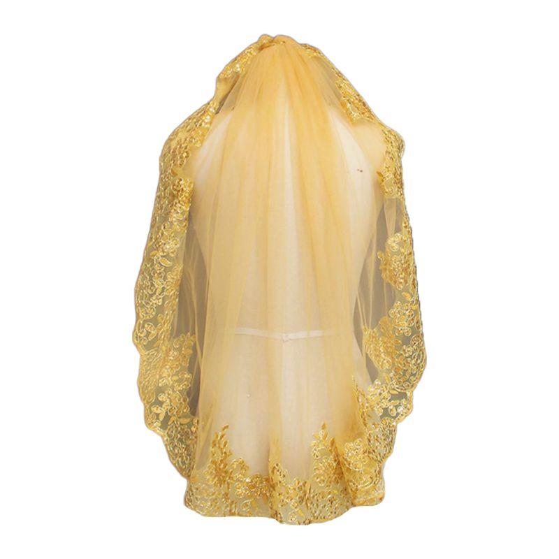 Mujeres suave malla metálica oro lentejuelas bordado encaje Vintage Mantilla boda velo cabeza cubierta con peine fiesta disfraz