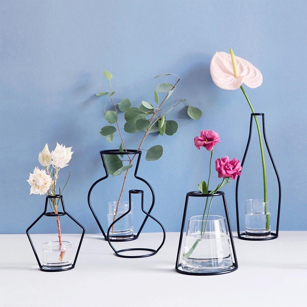 2019 Linhas Minimalistas Abstrata Vaso Abstrato Preto Prateleiras de Ferro Vaso de Flores Secas Vaso Nórdico Ornamento Da Flor para o Partido Home