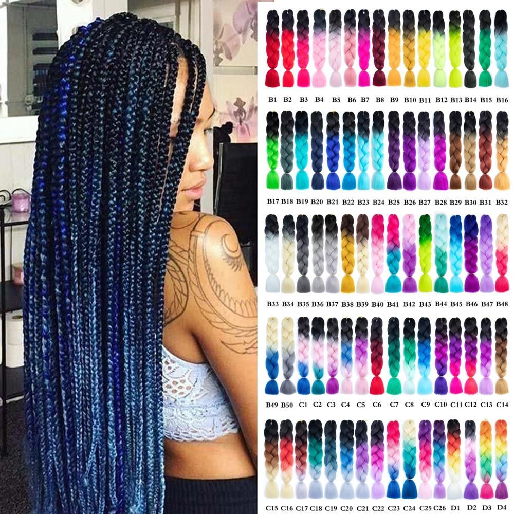 SmartBraid Джамбо плетение волос синтез Омбре цвет 24 в 100 г коробка плетеные волосы для наращивания блонд розовый зеленый африканские косы