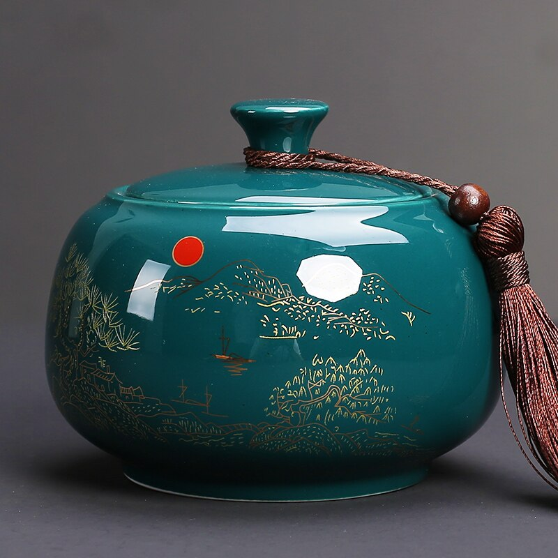 السيراميك جرة الشاي صندوق الشاي يترك حاوية الحلوى يمكن شاي الفواكه المجففة العلبة رائحة برهان الصينية Caja دي Te تخزين وعاء AC50TE
