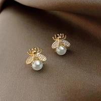 korean fashion little bee pearl earrings stud earrings cute earings animal earrings fashion jewelry 2021 earrings for women