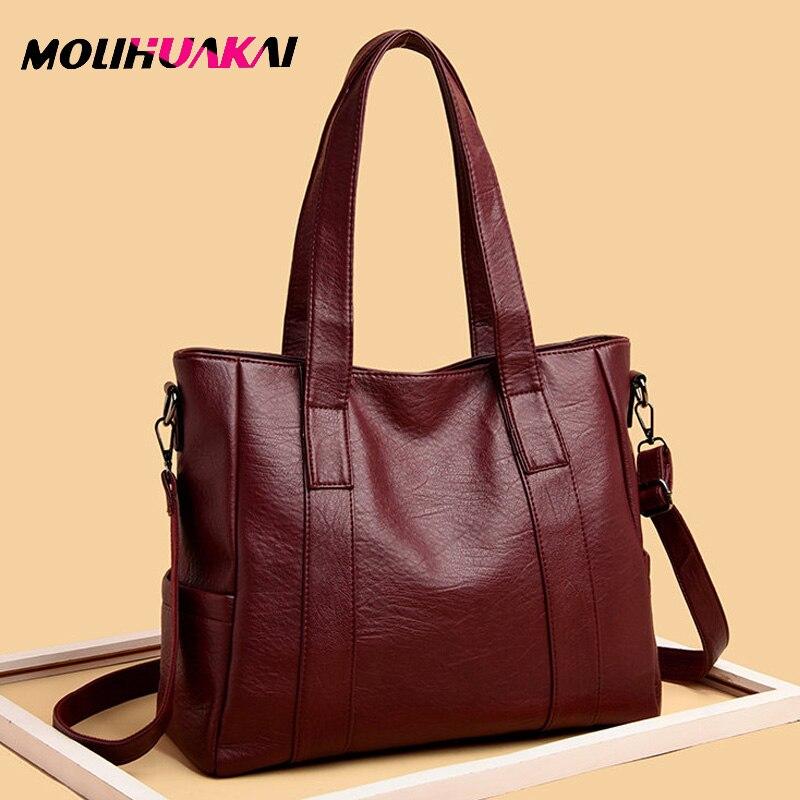 Bolso de cuero suave para mujer, bolso Vintage, bolso bandolera para mujer bolsas