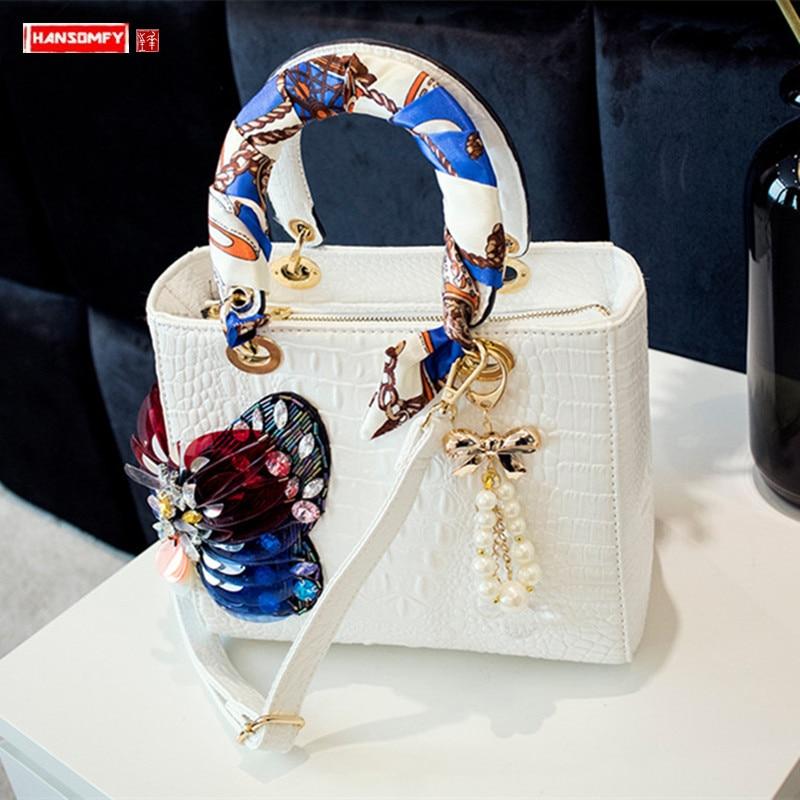 2020 nova moda diamante feminina bolsa de couro feminino strass bolsas ombro diagonal sacos senhoras pequeno crocodilo borboleta