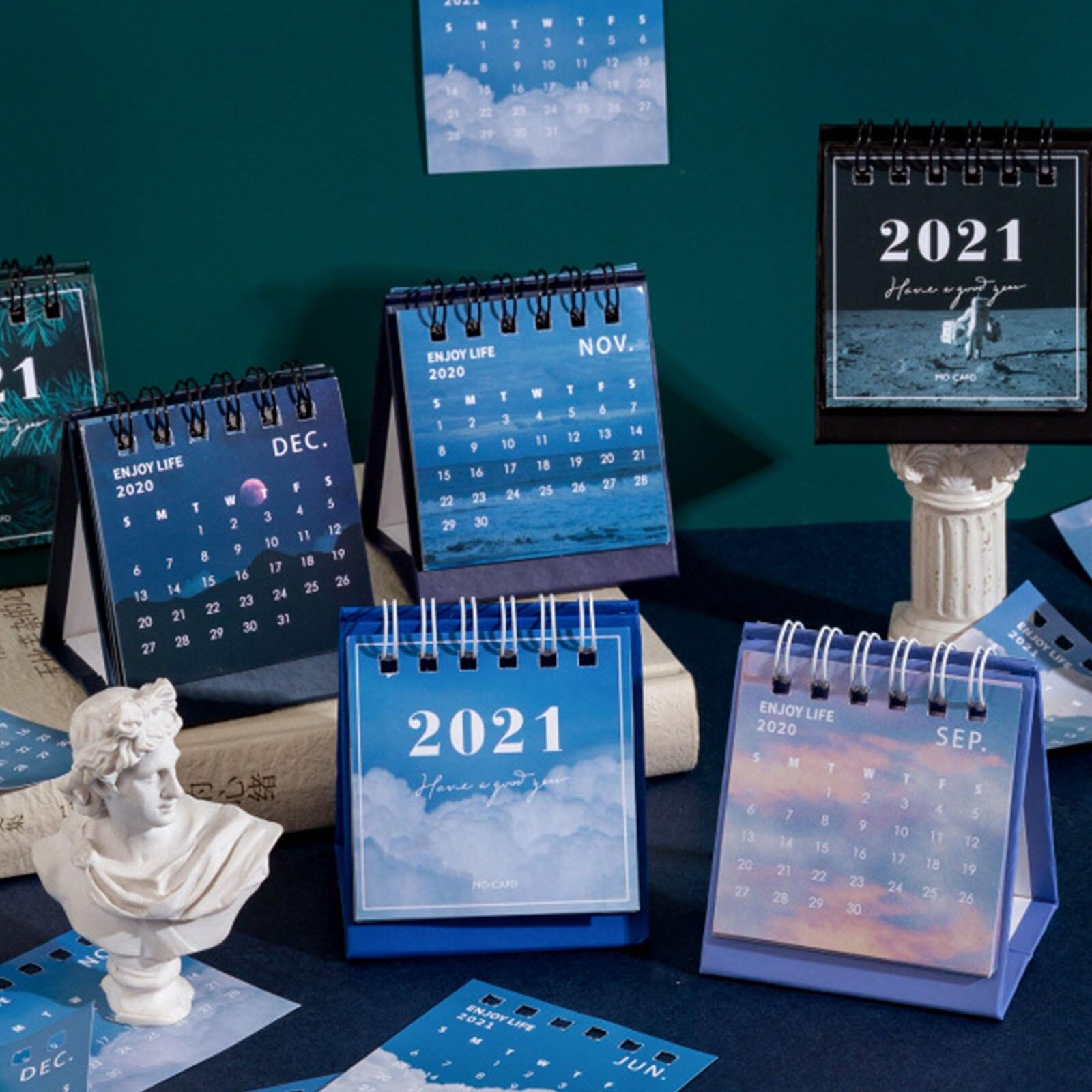 2021 простой креативный Настольный календарь синей серии, календарь, планировщик, двойной график, расписание на год, ежедневник для встреч, ор...