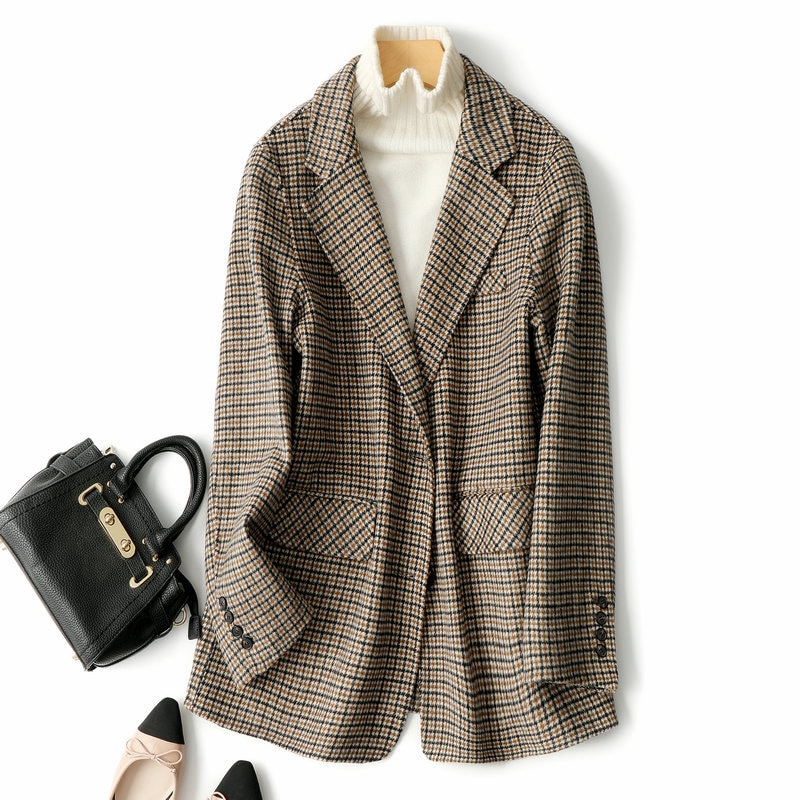 Осень-зима 2020 Новый Популярный клетчатый двухсторонний тканевый костюм кашемировое пальто женское короткое корейское высококачественное ...