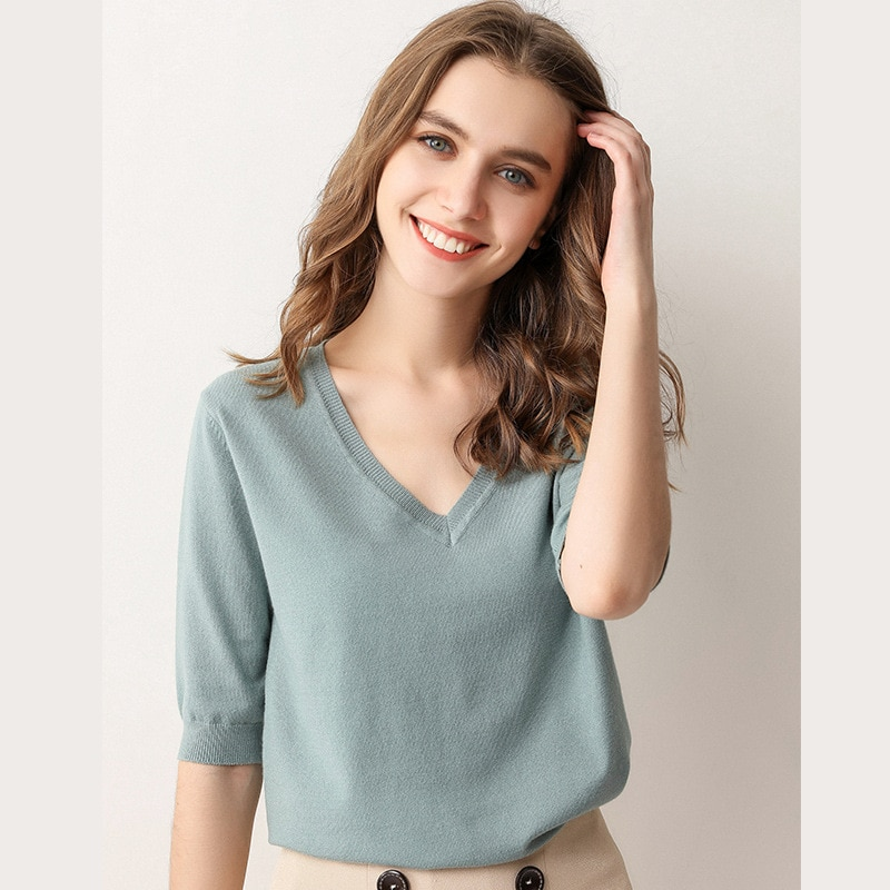 Women's T-shirt Spring and Autumn Clothing Pure Color New Short Sleeve Jacket V-neck Design T-shirt