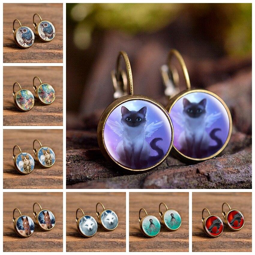 Trendy Cute Cartoon Fox Cat Pattern Stud Earring for Women Glass Cabochon Fashion Art Photo Handcrafted Earrings Women Jewelry